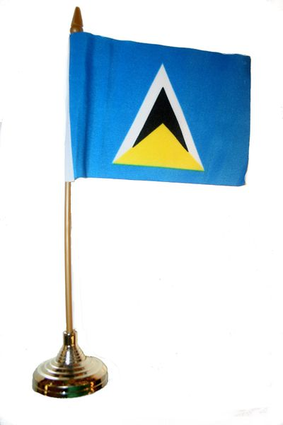 """ST. LUCIA 4"""" X 6"""" INCHES MINI COUNTRY STICK FLAG BANNER WITH GOLD STAND ON A 10 INCHES PLASTIC POLE .. NEW AND IN A PACKAGE."""