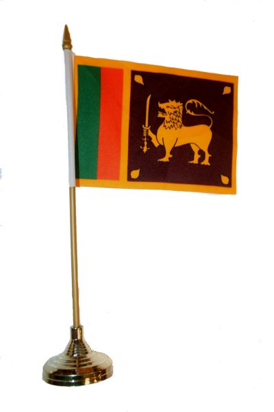 """SRI LANKA 4"""" X 6"""" INCHES MINI COUNTRY STICK FLAG BANNER WITH GOLD STAND ON A 10 INCHES PLASTIC POLE .. NEW AND IN A PACKAGE."""