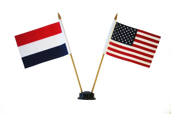 "HOLLAND & USA SMALL 4"" X 6"" INCHES MINI DOUBLE COUNTRY STICK FLAG BANNER ON A 10 INCHES PLASTIC POLE .. NEW AND IN A PACKAGE"