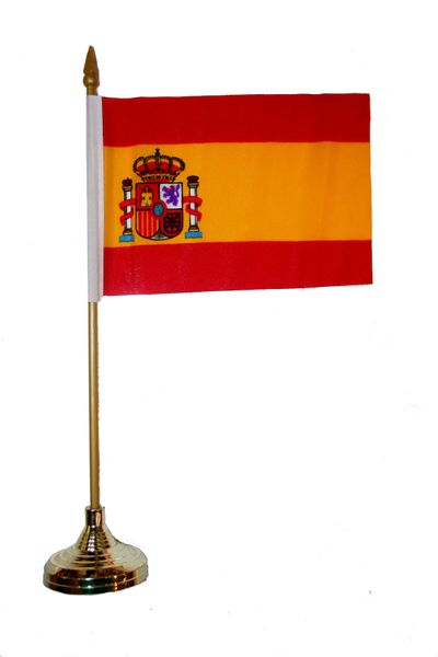 """SPAIN 4"""" X 6"""" INCHES MINI COUNTRY STICK FLAG BANNER WITH GOLD STAND ON A 10 INCHES PLASTIC POLE .. NEW AND IN A PACKAGE."""