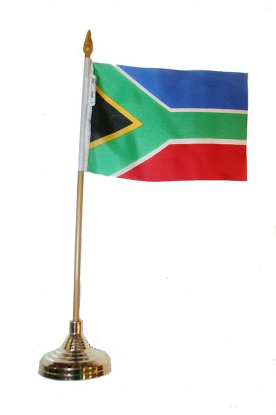 """SOUTH AFRICA 4"""" X 6"""" INCHES MINI COUNTRY STICK FLAG BANNER WITH GOLD STAND ON A 10 INCHES PLASTIC POLE .. NEW AND IN A PACKAGE."""