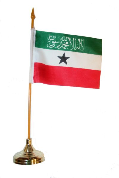 "SOMALILAND 4"" X 6"" INCHES MINI COUNTRY STICK FLAG BANNER WITH GOLD STAND ON A 10 INCHES PLASTIC POLE .. NEW AND IN A PACKAGE."