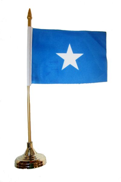 "SOMALIA 4"" X 6"" INCHES MINI COUNTRY STICK FLAG BANNER WITH GOLD STAND ON A 10 INCHES PLASTIC POLE .. NEW AND IN A PACKAGE."