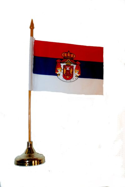 "SERBIA 4"" X 6"" INCHES MINI COUNTRY STICK FLAG BANNER WITH GOLD STAND ON A 10 INCHES PLASTIC POLE .. NEW AND IN A PACKAGE."