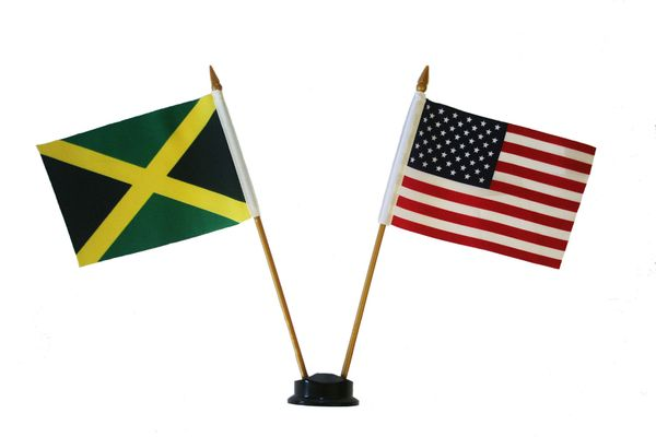 "JAMAICA & USA SMALL 4"" X 6"" INCHES MINI DOUBLE COUNTRY STICK FLAG BANNER ON A 10 INCHES PLASTIC POLE .. NEW AND IN A PACKAGE"