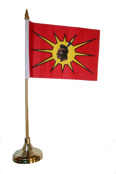 "MOHAWK OKA Native 4"" X 6"" Inch STICK FLAG BANNER WITH GOLD STAND ON A 10 INCHES PLASTIC POLE .. NEW AND IN A PACKAGE."