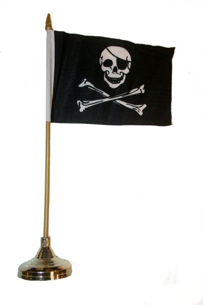 "PIRATE SKULL CROSS BONES 4"" X 6"" INCH MINI STICK FLAG BANNER WITH GOLD STAND ON A 10 INCHES PLASTIC POLE .. NEW AND IN A PACKAGE."