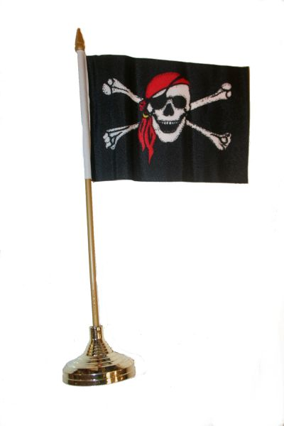 "PIRATE SKULL WITH BANDANA CROSS BONES 4"" X 6"" INCHES MINI STICK FLAG BANNER WITH GOLD STAND ON A 10 INCHES PLASTIC POLE .. NEW AND IN A PACKAGE."