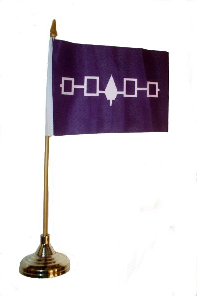 "IROQUOIS First Nations 4"" X 6"" Inch STICK FLAG BANNER WITH GOLD STAND ON A 10 INCHES PLASTIC POLE .. NEW AND IN A PACKAGE."