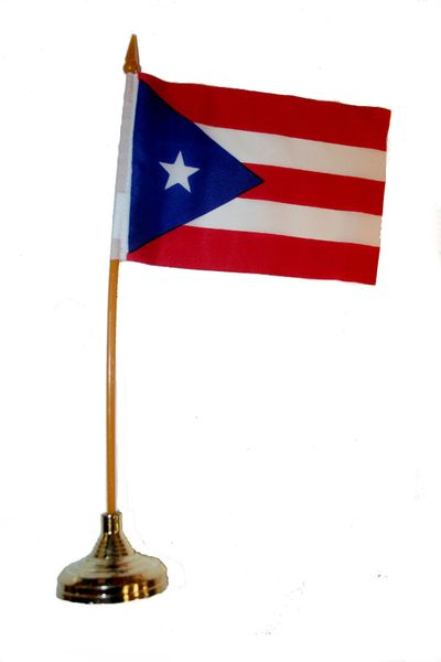 """PUERTO RICO 4"""" X 6"""" INCHES MINI COUNTRY STICK FLAG BANNER WITH GOLD STAND ON A 10 INCHES PLASTIC POLE .. NEW AND IN A PACKAGE."""