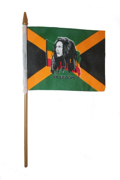 "BOB MARLEY 4"" X 6"" INCHES MINI STICK FLAG BANNER ON A 10 INCHES PLASTIC POLE .. NEW AND IN A PACKAGE."