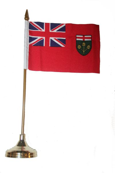"""ONTARIO - CANADA PROVINCIAL FLAG 4"""" X 6"""" INCHES MINI STICK FLAG BANNER WITH GOLD STAND ON A 10 INCHES PLASTIC POLE .. NEW AND IN A PACKAGE."""