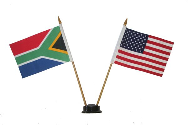 "SOUTH AFRICA & USA SMALL 4"" X 6"" INCHES MINI DOUBLE COUNTRY STICK FLAG BANNER ON A 10 INCHES PLASTIC POLE .. NEW AND IN A PACKAGE"