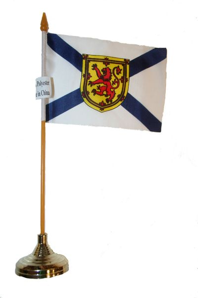 """NOVA SCOTIA - CANADA PROVINCIAL FLAG 4"""" X 6"""" INCHES MINI STICK FLAG BANNER WITH GOLD STAND ON A 10 INCHES PLASTIC POLE .. NEW AND IN A PACKAGE."""