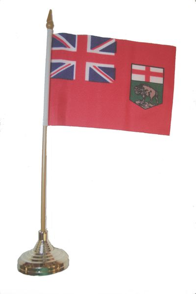 """MANITOBA - CANADA PROVINCIAL FLAG 4"""" X 6"""" INCHES MINI STICK FLAG BANNER WITH GOLD STAND ON A 10 INCHES PLASTIC POLE .. NEW AND IN A PACKAGE."""