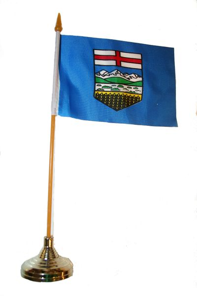 """ALBERTA - CANADA PROVINCIAL FLAG 4"""" X 6"""" INCHES MINI STICK FLAG BANNER WITH GOLD STAND ON A 10 INCHES PLASTIC POLE .. NEW AND IN A PACKAGE."""