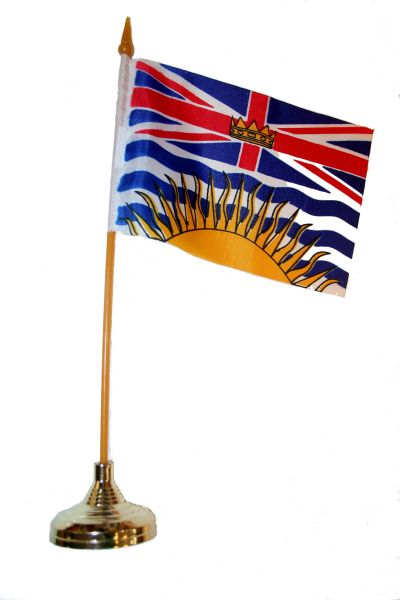 "BRITISH COLUMBIA - CANADA PROVINCIAL FLAG 4"" X 6"" INCHES MINI STICK FLAG BANNER WITH GOLD STAND ON A 10 INCHES PLASTIC POLE .. NEW AND IN A PACKAGE."