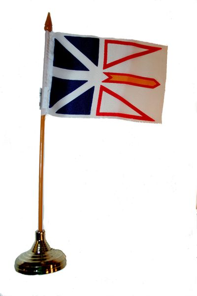 """NEWFOUNDLAND & LABRADOR  4"""" X 6"""" INCHES MINI   CANADIAN PROVINCE STICK FLAG BANNER WITH STICK STAND ON A 10 INCHES PLASTIC POLE .. NEW AND IN A PACKAGE."""