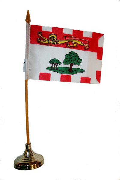 """PRINCE EDWARD ISLAND  4"""" X 6"""" INCHES MINI  CANADIAN  PROVINCE STICK FLAG BANNER WITH STICK STAND ON A 10 INCHES PLASTIC POLE .. NEW AND IN A PACKAGE."""
