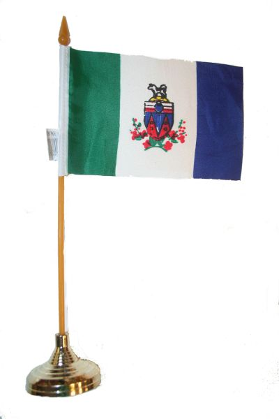"""YUKON  4"""" X 6"""" INCHES MINI  CANADIAN TERRITORY  STICK FLAG BANNER WITH STICK STAND ON A 10 INCHES PLASTIC POLE .. NEW AND IN A PACKAGE."""
