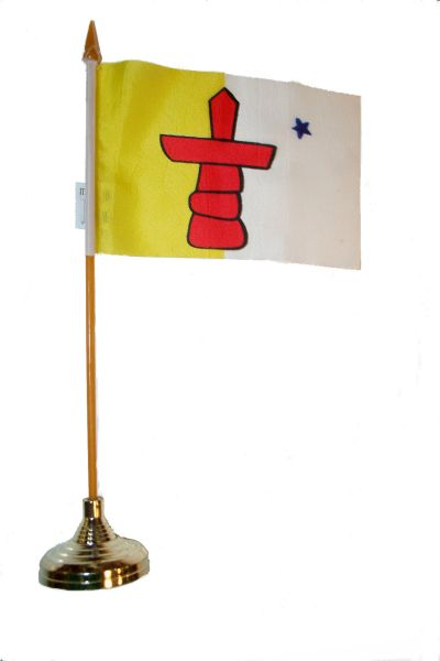 """NUNAVUT  4"""" X 6"""" INCHES MINI  CANADIAN  TERRITORY STICK FLAG BANNER WITH STICK STAND ON A 10 INCHES PLASTIC POLE .. NEW AND IN A PACKAGE."""