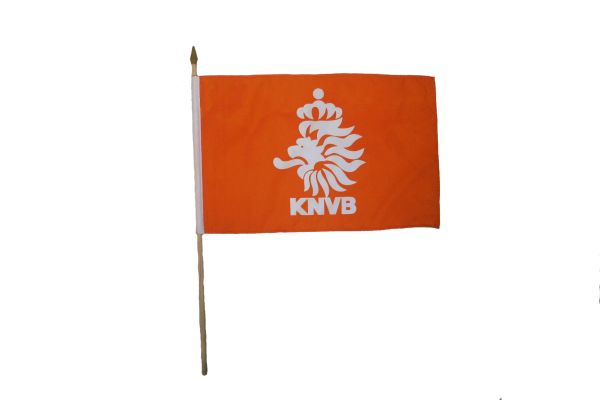 "NETHERLANDS HOLLAND 4"" X 6"" INCHES KNVB LOGO SOCCER WORLD CUP MINI STICK FLAG BANNER ON A 10 INCHES PLASTIC POLE .. NEW AND IN A PACKAGE."