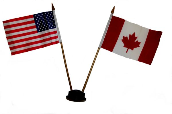 "USA & CANADA SMALL 4"" X 6"" INCHES MINI DOUBLE COUNTRY STICK FLAG BANNER ON A 10 INCHES PLASTIC POLE .. NEW AND IN A PACKAGE"
