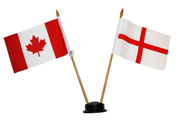 """ENGLAND & CANADA SMALL 4"""" X 6"""" INCHES MINI DOUBLE COUNTRY STICK FLAG BANNER ON A 10 INCHES PLASTIC POLE .. NEW AND IN A PACKAGE"""