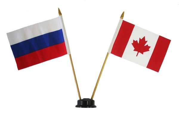 """RUSSIA & CANADA SMALL 4"""" X 6"""" INCHES MINI DOUBLE COUNTRY STICK FLAG BANNER ON A 10 INCHES PLASTIC POLE .. NEW AND IN A PACKAGE"""