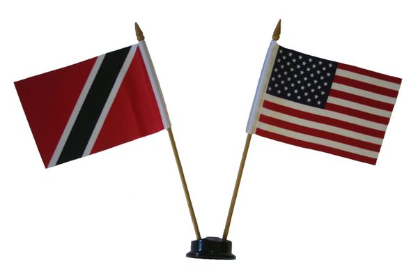 "TRINIDAD - TOBAGO & USA SMALL 4"" X 6"" INCHES MINI DOUBLE COUNTRY STICK FLAG BANNER ON A 10 INCHES PLASTIC POLE .. NEW AND IN A PACKAGE"