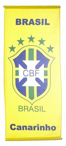 "BRASIL ""CANARINHO"" , 5 STARS 46"" X 20"" INCHES CBF LOGO FIFA SOCCER WORLD CUP FLAG BANNER .. NEW AND IN A PACKAGE"