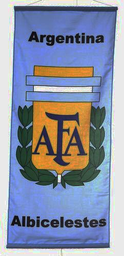 "ARGENTINA ""ALBICELESTES"" , 2 STARS 46"" X 20"" INCHES AFA LOGO FIFA SOCCER WORLD CUP FLAG BANNER .. NEW AND IN A PACKAGE"