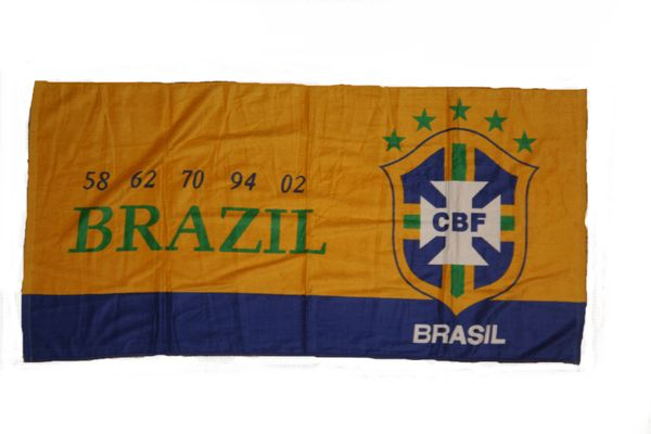 BRASIL YELLOW BLUE 5 STARS CBF LOGO 3' X 5' FEET FIFA SOCCER WORLD CUP FLAG BANNER .. NEW AND IN A PACKAGE