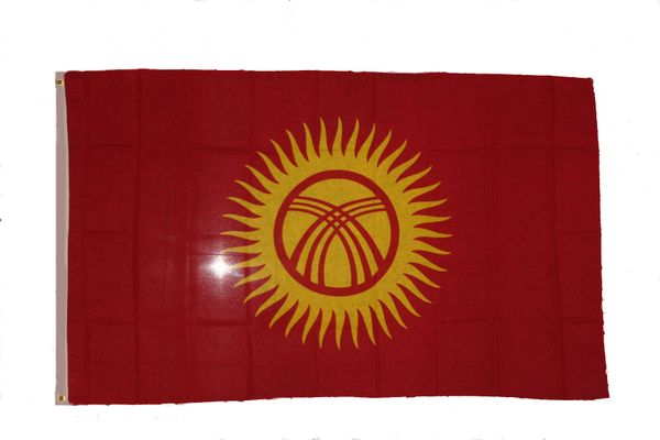 KYRGYZSTAN LARGE 3' X 5' FEET COUNTRY FLAG BANNER .. NEW AND IN A PACKAGE