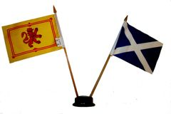 "SCOTLAND : RAMPANT & ST. ANDREW CROSS SMALL 4"" X 6"" INCHES MINI DOUBLE COUNTRY STICK FLAG BANNER ON A 10 INCHES PLASTIC POLE .. NEW AND IN A PACKAGE"
