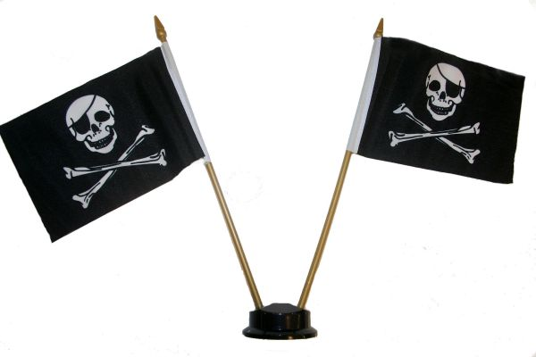 "PIRATE SKULL & CROSS BONES SMALL 4"" X 6"" INCHES MINI DOUBLE STICK FLAG BANNER ON A 10 INCHES PLASTIC POLE .. NEW AND IN A PACKAGE"