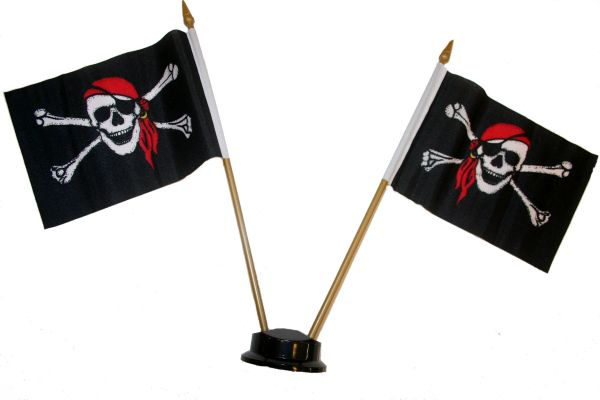 "PIRATE SKULL WITH BANDANA & CROSS BONES SMALL 4"" X 6"" INCHES MINI DOUBLE STICK FLAG BANNER ON A 10 INCHES PLASTIC POLE .. NEW AND IN A PACKAGE"