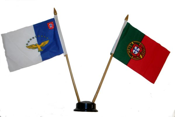 "PORTUGAL AZORES SMALL 4"" X 6"" INCHES MINI DOUBLE COUNTRY STICK FLAG BANNER ON A 10 INCHES PLASTIC POLE .. NEW AND IN A PACKAGE"