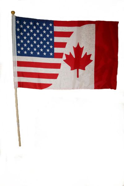 """CANADA - USA COMBO LARGE 12"""" X 18"""" INCHES COUNTRY STICK FLAG ON 2 FOOT WOODEN STICK .. NEW AND IN A PACKAGE"""