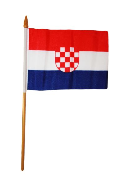 "CROATIA OLD 4"" X 6"" INCHES MINI COUNTRY STICK FLAG BANNER ON A 10 INCHES PLASTIC POLE .. NEW AND IN A PACKAGE."