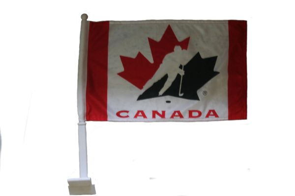 "CANADA NATIONAL TEAM - HOCKEY 12"" X 18"" INCHES HEAVY DUTY WITH STICK CAR FLAG .. NEW AND IN A PACKAGE"