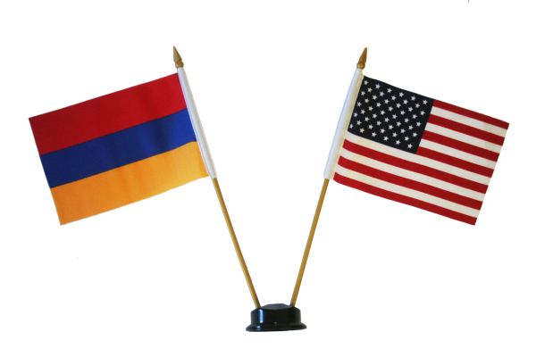 """ARMENIA & USA SMALL 4"""" X 6"""" INCHES MINI DOUBLE COUNTRY STICK FLAG BANNER ON A 10 INCHES PLASTIC POLE .. NEW AND IN A PACKAGE"""