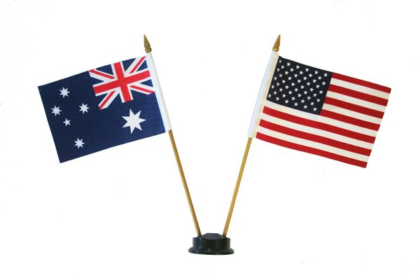 """AUSTRALIA & USA SMALL 4"""" X 6"""" INCHES MINI DOUBLE COUNTRY STICK FLAG BANNER ON A 10 INCHES PLASTIC POLE .. NEW AND IN A PACKAGE"""