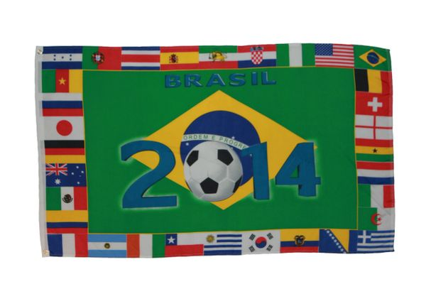 BRASIL 2014 COUNTRY' 3' X 5' FEET FIFA SOCCER WORLD CUP FLAG BANNER .. NEW AND IN A PACKAGE