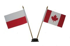 """POLAND & CANADA SMALL 4"""" X 6"""" INCHES MINI DOUBLE COUNTRY STICK FLAG BANNER ON A 10 INCHES PLASTIC POLE .. NEW AND IN A PACKAGE"""
