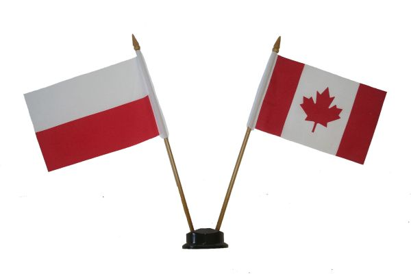 "POLAND & CANADA SMALL 4"" X 6"" INCHES MINI DOUBLE COUNTRY STICK FLAG BANNER ON A 10 INCHES PLASTIC POLE .. NEW AND IN A PACKAGE"