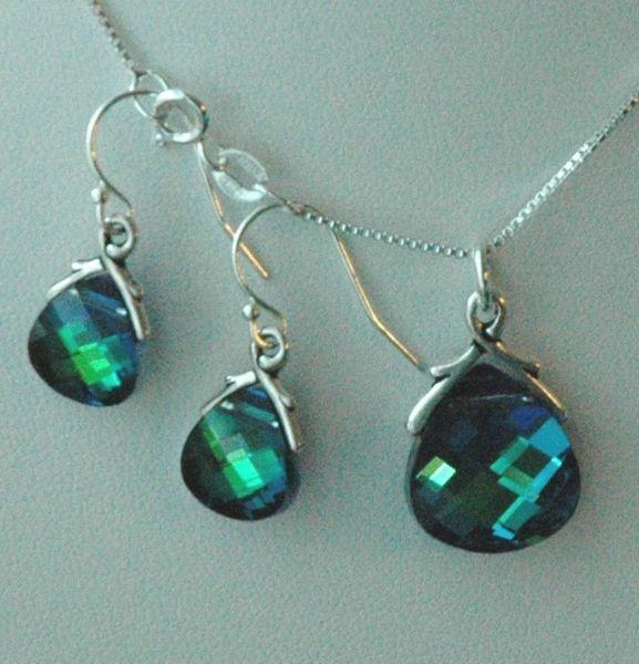 Peacock Set - Swarovski Crystal Aquamarine Green Sphinx Briolette Earrings and Necklace