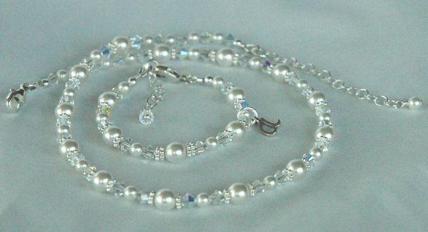 Princess Initial Children Bracelet and Necklace - SET, Flower Girl Necklace, Flower Girl Bracelet, Baptism Necklace, Christening Bracelet