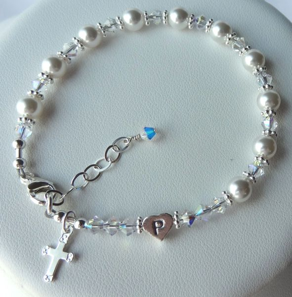 Godmother Rosary Bracelet - Swarovski Crystal Pearl and Sterling Silver Heart Initial Personalized Rosary Bracelet, Rosary Bracelet