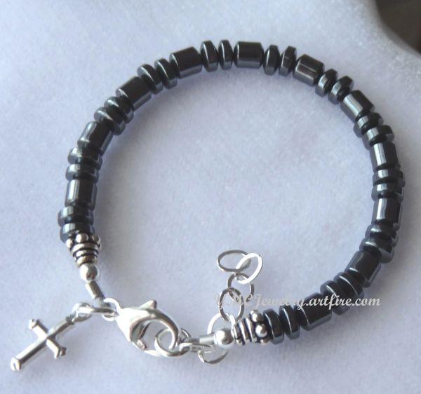 Baby Boy Bracelet - Sterling Silver Hematite Cross Bracelet, Boy Baptism Bracelet, Boy Christening Bracelet, Boy Bracelet, First Communion